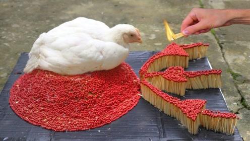 老外用30000根火柴摆成火山烤鸡,场面很壮观,成品太尴尬