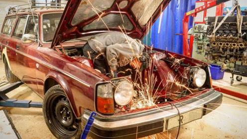 沃尔沃老车这么猛?装兰博基尼发动机上赛道,跑出10缸机的威力