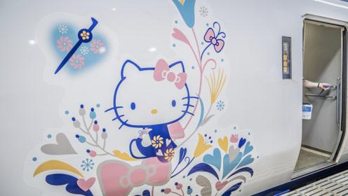 运气爆棚!日本jr西日本线碰到Hello Kitty主题列车