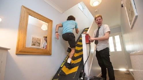 """大叔脑洞大开,将家里的楼梯改成""""跑步机"""",想上楼太难了!"""