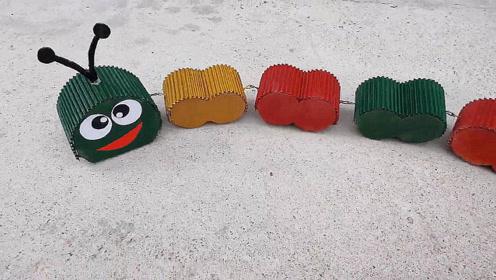 儿童玩具DIY,纸板电动毛毛虫的制作方法,简单又有创意!