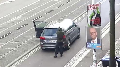 实拍!德国犹太教堂枪击案致2死 嫌犯曾直播约35分钟袭击过程