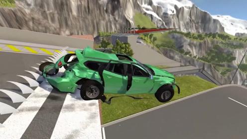 """模拟汽车冲过""""断崖式路面"""",没有一辆能幸免于难,最后一辆太惨"""