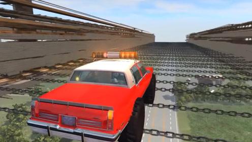 悬在高空的铁链,哪辆汽车能顺利通过?隔着屏幕都看得一身虚汗