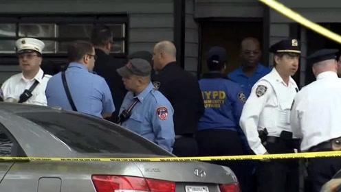 纽约发生枪击案致4死3伤 案发街区停满警车 警察拉起警戒线