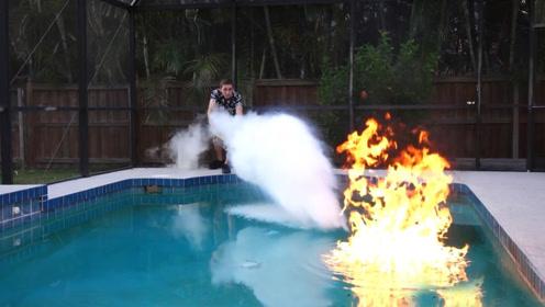 火势熊熊的乙醚能被液氮熄灭吗?老外作死实验,结果水火不容