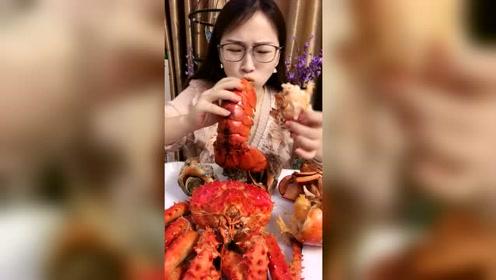 美食吃播:吸六斤的大龙虾