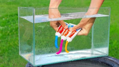 三色牙膏放在水中挤会怎样?下一秒别眨眼,网友:真神奇!