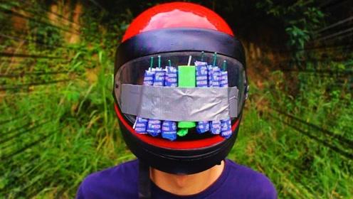 头盔的质量如何?小伙点燃几个炮竹测试,结果太给力了!