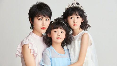 鲍蕾晒与两个女儿照片,母女3人颜值超高