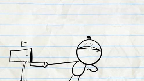铅笔人取邮件,意外碰见小黑虫,下一秒的铅笔人被吓到颤抖