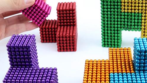 俄罗斯方块新玩法,牛人用彩色巴克球制作,落下过程看得真带劲