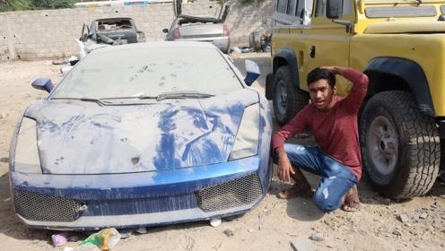 在迪拜捡到一辆兰博基尼,打开车门一看,小伙直冒冷汗!