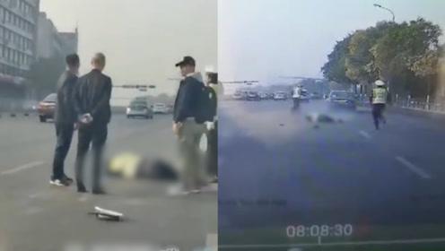 辽宁鞍山一轿车撞倒碾压交警 行车记录仪拍下民警牺牲最后瞬间