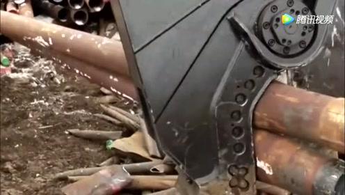 削铁如泥:工字钢在巨剪下,瞬间被剪成两段