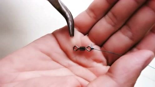 钓鱼技巧,主线连接八字环,线头向下打法