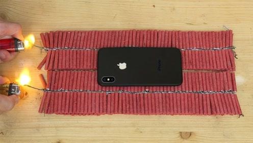 将IPhone X放在上千发鞭炮上,点燃后会发生什么?手机:我太难了