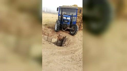 前面有沟还往前开,这司机有点虎!