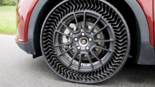 """国外研发""""无气轮胎"""",外观充满未来科技感,再也不怕车胎漏气了"""