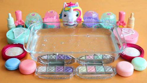 小清新无硼砂史莱姆教程,多种化妆粉+亮彩粉+透明水晶泥,好玩又解压