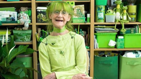 """老奶奶沉迷""""绿色""""无法自拔,衣食住行清一色,网友:还能再绿点吗"""