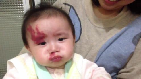 开始学坏喷口水的可爱小宝宝,天生自带龙纹胎记好炫酷!