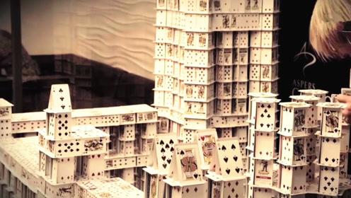 牛人用22万张扑克牌做成的城堡,耗时3个月完成,真怕一阵风吹来!