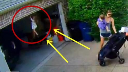 妈妈一个转身的功夫,孩子瞬间悬吊在半空,监控拍下惊险画面!
