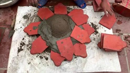 越南小伙技术不赖,动手砌了个花盆,又省了上百块钱