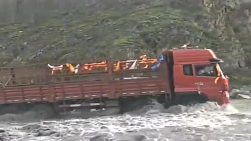 大货车司机过河猛如虎,本想着一脚油门冲过去,最后尴尬了