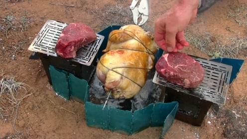 一家人野外露营,烤火鸡和牛肉,看着就直流口水