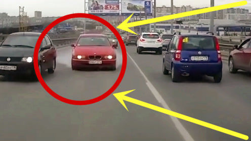 轿车司机太嚣张,一脚油门冲向迎面车道,宝马刹车都踩冒烟也无济于事!