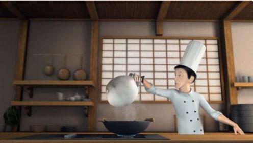 厨师准备杀鱼做菜,没想到鱼儿准备逃跑,不料跳进了锅里