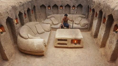 国外小伙想得开,独自在野外建造一栋别墅,水电费都免了!