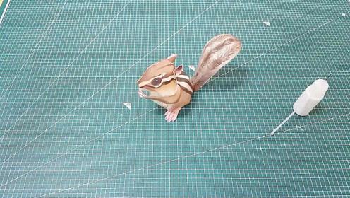 纸模DIY,立体松鼠的快速拼接方法!