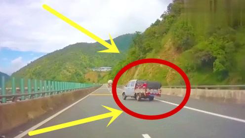 货车公路突然失控,左右不停摇摆,侧翻瞬间令人惊悚!