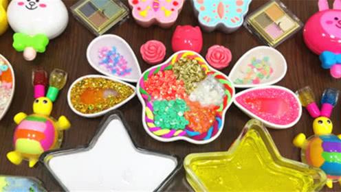 DIY史莱姆教程,小乌龟彩泥混合亮粉泥、蝴蝶泥、化妆品