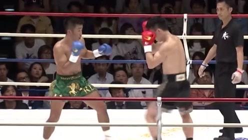 邱建良遇到硬茬对手日本拳王,一通后扫腿往对方身上招呼
