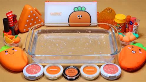 DIY史莱姆教程,橙色胡萝卜泥+珍珠泥+眼影+文具袋水晶泥