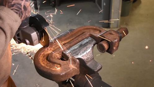 切开一个大号C字夹,改造成手动压铆工具,成品比买的还好用