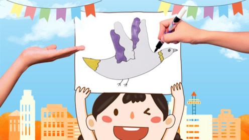 益智手指画:画个手掌印简单添加几笔 竟然变成了小白鸽 创意手工