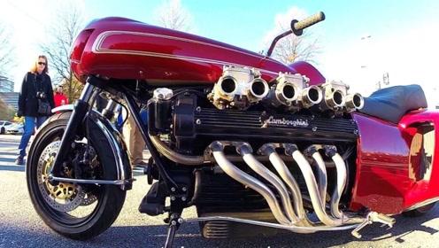大爷760万定制博基尼摩托车,安装12缸超跑发动机,百公里2.8秒