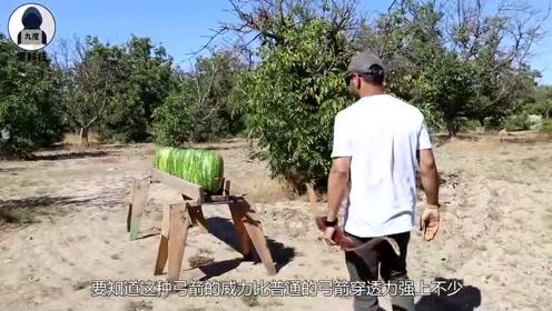 多少颗西瓜才能抵挡住弓箭射击?老外亲测,结果让人大开眼界!
