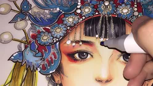 唯美手绘汉族盛装新娘,绘画技巧,喵,珠宝