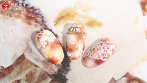 气质秋冬 琥珀印花美甲教程