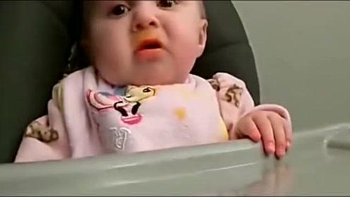 几个月的萌宝第一次吃辅食蔬,萌宝宝宝的表情超可爱