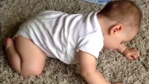 萌宝在爬行的过程中,突然犯困直接趴着就睡着了,真是太萌了