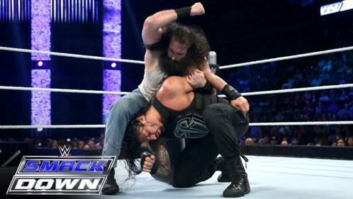 WWE罗曼和怀亚特家族对战,卢克哈珀抗打能力挺强,但无奈对方太强!
