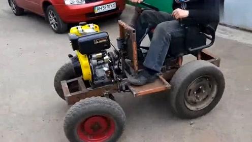国外牛人用马达自制汽车,这动手能力真是太强了,佩服!