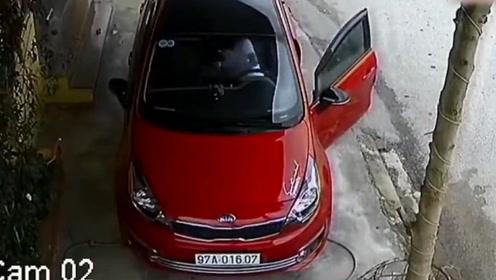 女司机倒车,如果不是监控,谁知道她这么牛!